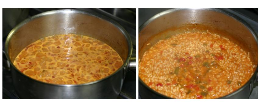 Arroz cociendo 12 minutos