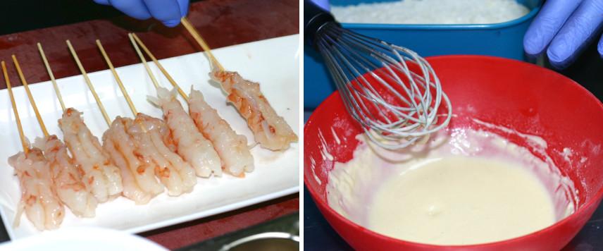Brochetas de langostinos y tempura